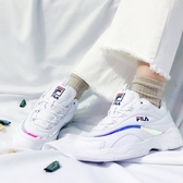 KUMO SHOES-韓國 FILA RAY 藍邊 雷射 白 厚底老爹運動鞋 金裕貞款 FSISIA3060 WWT