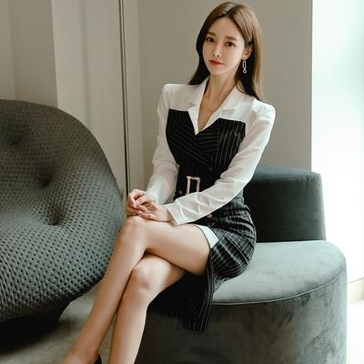 韓系OL通勤洋装秋冬韓版氣質修身西裝領拼接雙排扣條紋職業連身裙7316#NE49红粉佳人