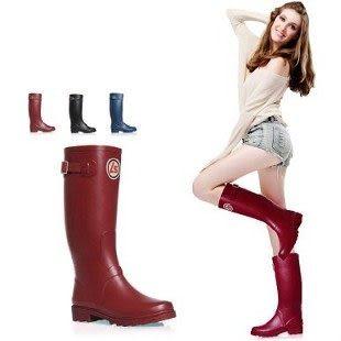 雨靴雨鞋純色徽章搭扣高筒雨靴雨鞋...3色入...現加預...流行線