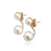 耳環 玫瑰金 925純銀鑲鑽-精巧珍珠情人節生日禮物女飾品2色73gs127【時尚巴黎】