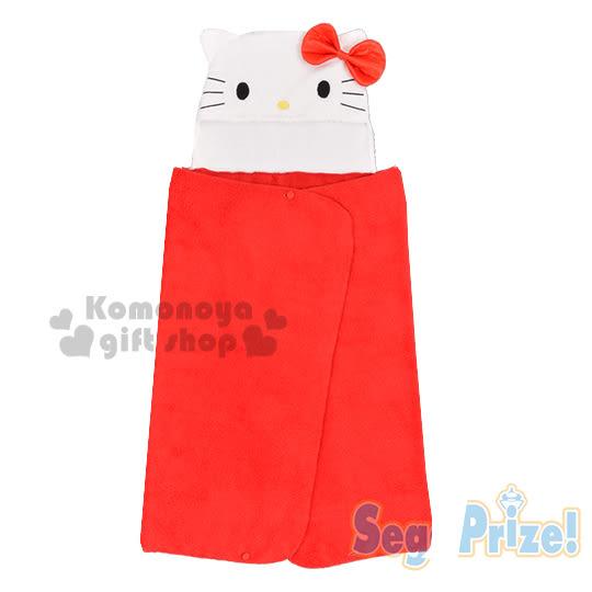 〔小禮堂〕Hello Kitty 造型連帽披肩毯《紅.大臉.大蝴蝶結》70x120cm.可拆式設計 4983164-16245