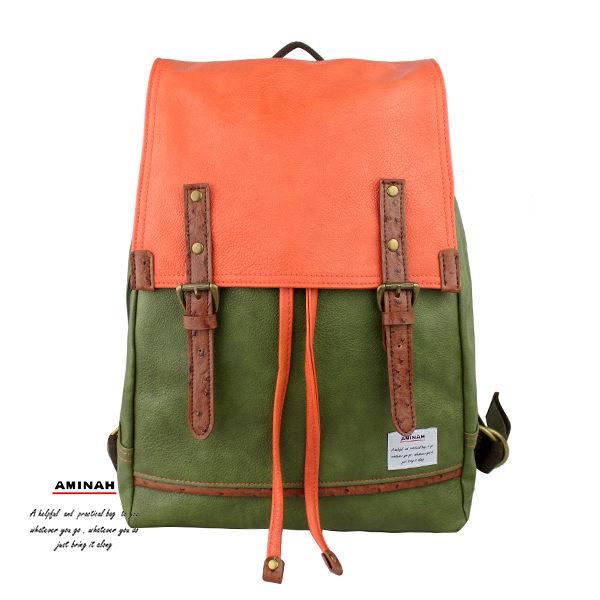 拼接皮革後背包 綠色拼色  AMINAH~【am-0212】