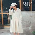 Queen Shop【01084620】西裝排釦造型棉麻洋裝*現+預*