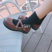 娃娃鞋單鞋女日繫淺口圓頭交叉帶碎花平底鞋舒適學生鞋女單鞋 俏腳丫