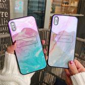 漸變大理石 iPhone7Plus iphone6 iphoneX 藍光 玻璃 鏡面 手機殼 蘋果 i8 保護套 防摔 軟殼