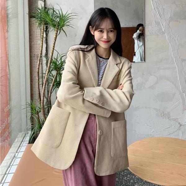 限時特銷 冬新款復古港風燈芯絨休閑西服韓版英倫風寬松加厚西裝外套