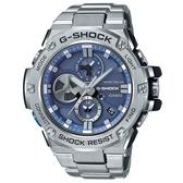 CASIO G-SHOCK 渦輪葉片錶面太陽能藍芽不鏽鋼錶-藍面(GST-B100D-2A)