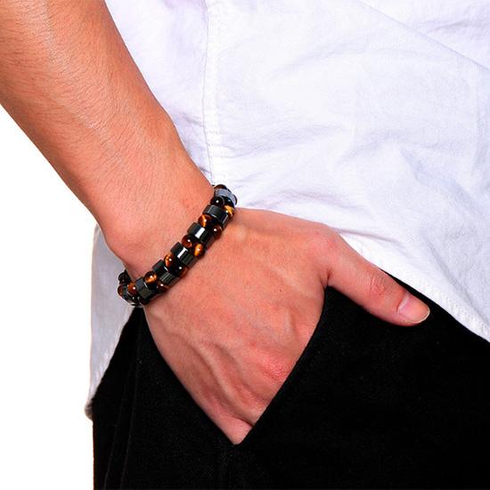 《 QBOX 》FASHION 飾品【BBR-703】精緻個性型男虎眼石/黑膽石串珠手鍊/手環
