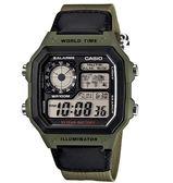 【台南 時代鐘錶 CASIO】卡西歐 台灣公司貨 AE-1200WHB-3B 世界地圖耐久電力多功能電子錶
