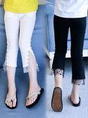 女童七分褲夏薄款新款夏季打底褲微喇叭褲休閒中褲子修身兒童