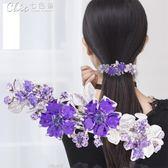 女士髪卡頭飾成人髪夾優雅百搭韓國髪飾頂夾一字夾卡子「Chic七色堇」