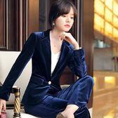 亮麗金絲絨金屬釦懷舊長袖西裝外套 [9X278-PF]小三衣藏