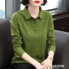 【快出】長袖t恤女年新款秋裝大碼中年媽媽翻領polo衫秋衣外穿打底衫
