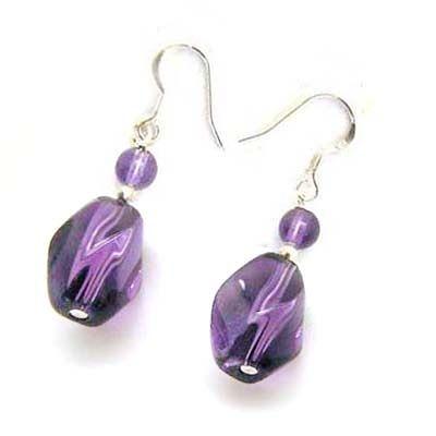 紫晶轉珠與紫晶珠純銀耳環