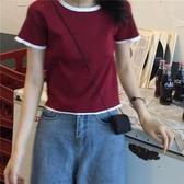歐洲站洋氣小衫時尚韓版短款針織溫柔JENNIE風上衣短袖T恤女夏INS 後街五號