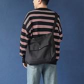 日系百搭中性純色帆布斜背包肩背包電腦包書包男女【聚寶屋】