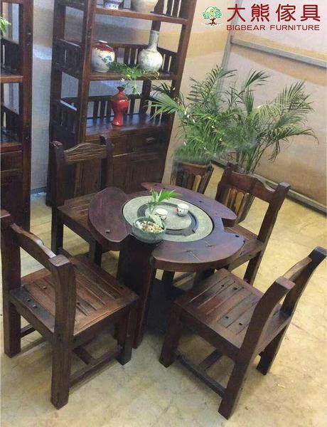 【大熊傢俱】 老船木 茶台 泡茶桌 實木茶台 茶几 圓桌 原木 小茶几 實木 梅花形 小椅凳  休閒組椅