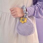 [獻給愛麗絲] 紫色花朵毛絨口紅包女手拿 手挽零錢包迷你小包包 伊蘿