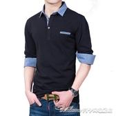 男士長袖t恤純棉青年翻領寬鬆polo衫休閒秋衣上衣外穿加絨加厚潮(速度出貨)