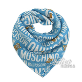茱麗葉精品【全新現貨】 MOSCHINO 50140 M5384 滿版小熊莫代爾質感薄圍巾.藍/小