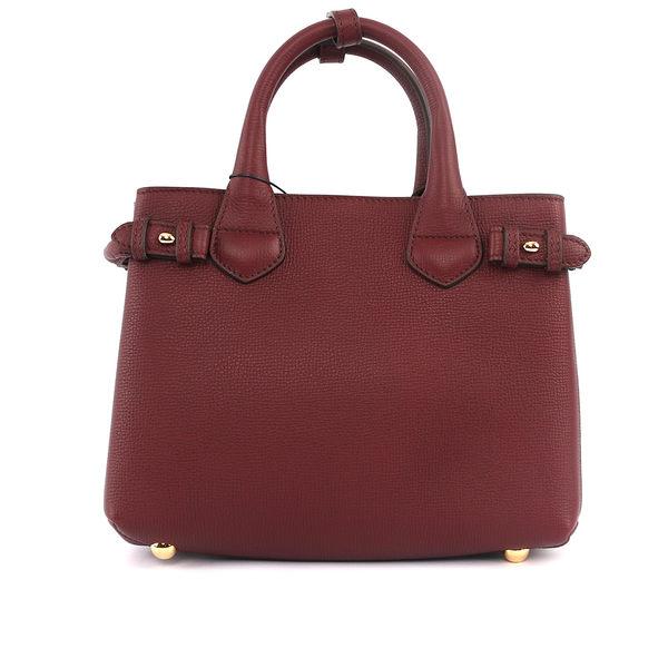【BURBERRY】THE BANNER HOUSE 格紋皮革小型包(紅酒色)4023704 60640