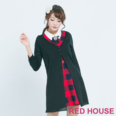 RED HOUSE-蕾赫斯-素色天絲棉長版針織外套(黑色)