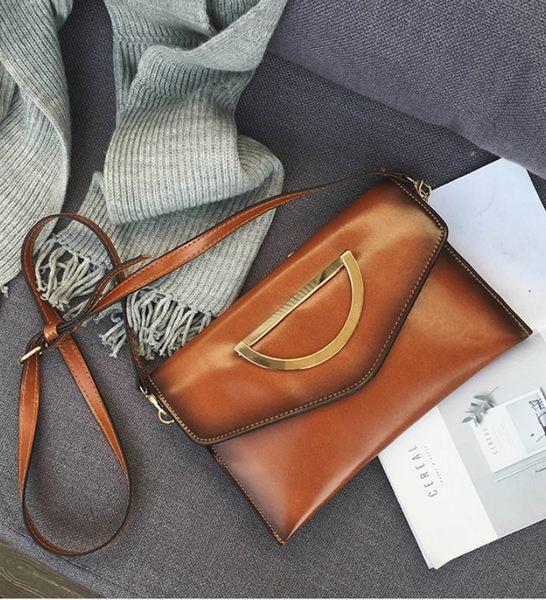 包包女2017春韓版新款復古潮信封包手拿側背單背三用黃色