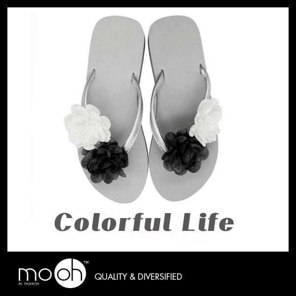 原創手工優雅拚色花朵楔型拖鞋 夾腳人字鏤空金屬色厚底拖鞋 mo.oh (歐美鞋款)