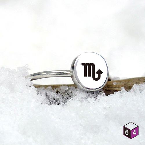 小圓系列 訂製圓形-符號/星座款 純銀戒指(大)-64DEISGN
