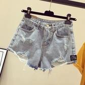 破洞牛仔短褲女夏高腰百搭大碼胖mm韓版寬鬆顯瘦闊腿a字熱褲子潮