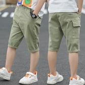 童裝男童工裝短褲夏裝新款兒童薄款褲子中大童七分中褲韓版潮 快速出貨