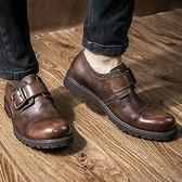 短靴真皮-銅扣商務時尚休閒厚底男靴子2色73kk44[巴黎精品]