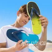 漸變木紋男士人字拖鞋夏季涼拖夾腳防滑平底涼鞋沙灘鞋潮流