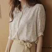 碎花雪紡短袖女上衣寬鬆襯衣洋氣小衫甜美小愛心襯衫【時尚大衣櫥】