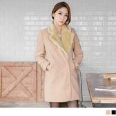 《EA1188-》質感毛領混羊毛修身長版外套.2色 OB嚴選