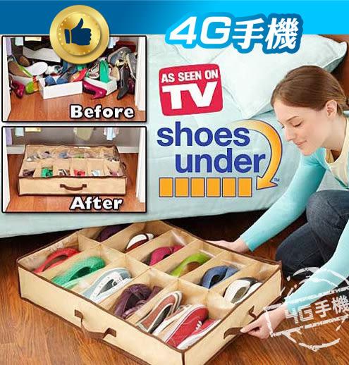 超大容量 12格透明收納鞋袋 床底鞋盒 收納盒 收納袋 鞋子 拖鞋 折疊 防水 不織布 【4G手機】