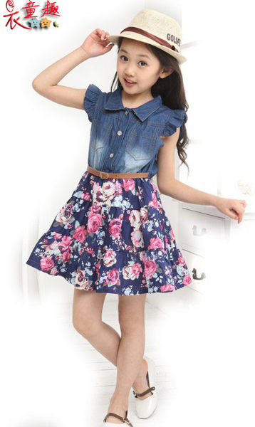 衣童趣♥中大女童牛仔碎花洋裝 休閒百搭甜美連身洋裝 氣質甜美澎澎裙公主風洋裝