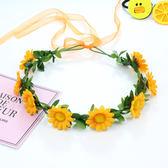 花環頭飾沙灘海邊花朵髮箍仿真韓式婚紗草帽配飾新娘飾品度假頭花─預購CH5725
