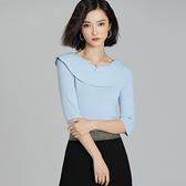 短袖針織衫-荷葉邊領口修身優雅女T恤3色73xi38[巴黎精品]