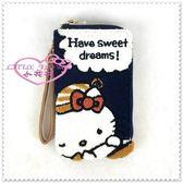 小花花日本精品♥ Hello Kitty  刺繡手機袋 手機收納袋 手機保護 小物袋 晚安插畫 藍色33178509