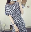 夏季韓版新款中長款女裝學生棉麻洋裝短袖氣質顯瘦修身裙子 魔法鞋櫃