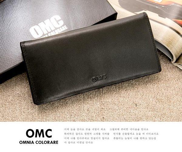 OMC - 韓系柔軟牛皮款真皮12卡1照長夾