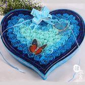 520節禮品100朵蝴蝶香皂花禮盒比翼雙飛結婚慶仿真花肥皂花【韓衣舍】