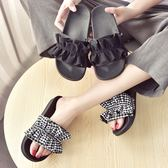 拖鞋 女夏外穿新款韓版厚底松糕跟格子花邊一字拖度假沙灘鞋潮