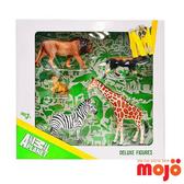 【Mojo Fun 動物模型】精裝禮盒-野生動物五件組 公獅+長頸鹿+斑馬+小獅子+非洲鬣狗(387302)
