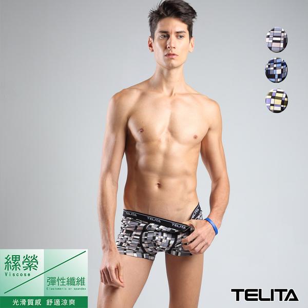 男內褲【TELITA】印象派圖騰嫘縈平口褲 四角褲