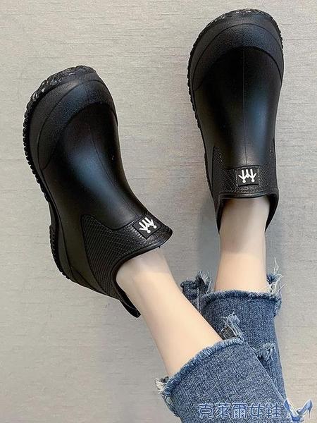 日系時尚款外穿雨鞋女短筒加絨保暖雨靴買菜廚房防滑水鞋洗車鞋 快速出貨