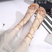 18夏季新款韓版交叉綁帶涼鞋女夏平底百搭系帶羅馬旅游度假沙灘鞋  米娜小铺