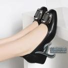 女士中跟鞋舒適百搭粗跟真皮媽媽鞋軟底皮鞋...