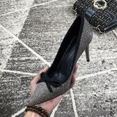 新款淺口秋冬香檳優雅宴會鞋女工作鞋真皮蝴蝶細高跟鞋 萬客居